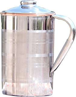 HealthGoodsIn - Stainless Steel and Copper Pitcher with Lid | Heavy Duty Stainless Steel and Pure Copper Designer Jug with Matching Lid | Steel and Copper Pitcher with Unique Ring Design