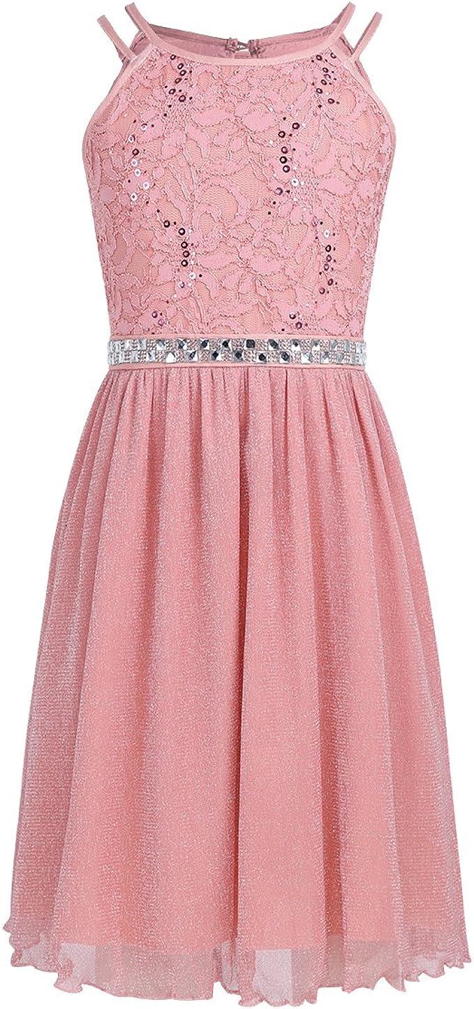 iEFiEL Festliches Kleid Mädchen Kinder Spitzen Kleid Hochzeit Prinzessin  Kleider Tüll Festzug Kleid Blumenmaedchenkleid Partykleid