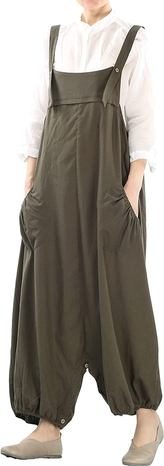 Minibee Womens Casual Loose Jumpsuit Long Baggy Bib Pants Wide Leg Rompers Cotton Overalls with Pockets