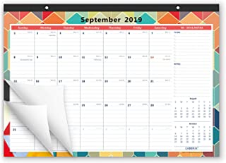 Cabbrix 2019-2020 Academic Year Monthly Desk Calendar, 17 x 12 Inches, Large Monthly Pages, Desktop Calendar for Office and Home