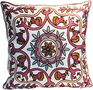 100% Cotton Embroidered Decorative Throw Pillow Covers Cushion Cases for Couch Sofa Bed Living Room Tapestry Style Home Decor 18x18 Inch