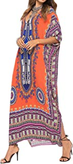 03f523e7152af AUDATE Women's V Neck Ethnic Print Caftan Maxi Dress Plus Size Casual Swimsuit  Cover Up