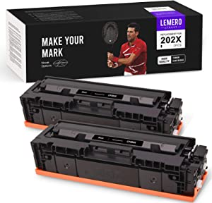 LemeroUtrust Compatible Toner Cartridge Replacement for HP 202X 202A CF500X CF500A use with HP Color Laserjet Pro MFP M281fdw M281cdw M281dw M281fdn M280nw M254dw M254nw M254dn (Black, 2-Pack)