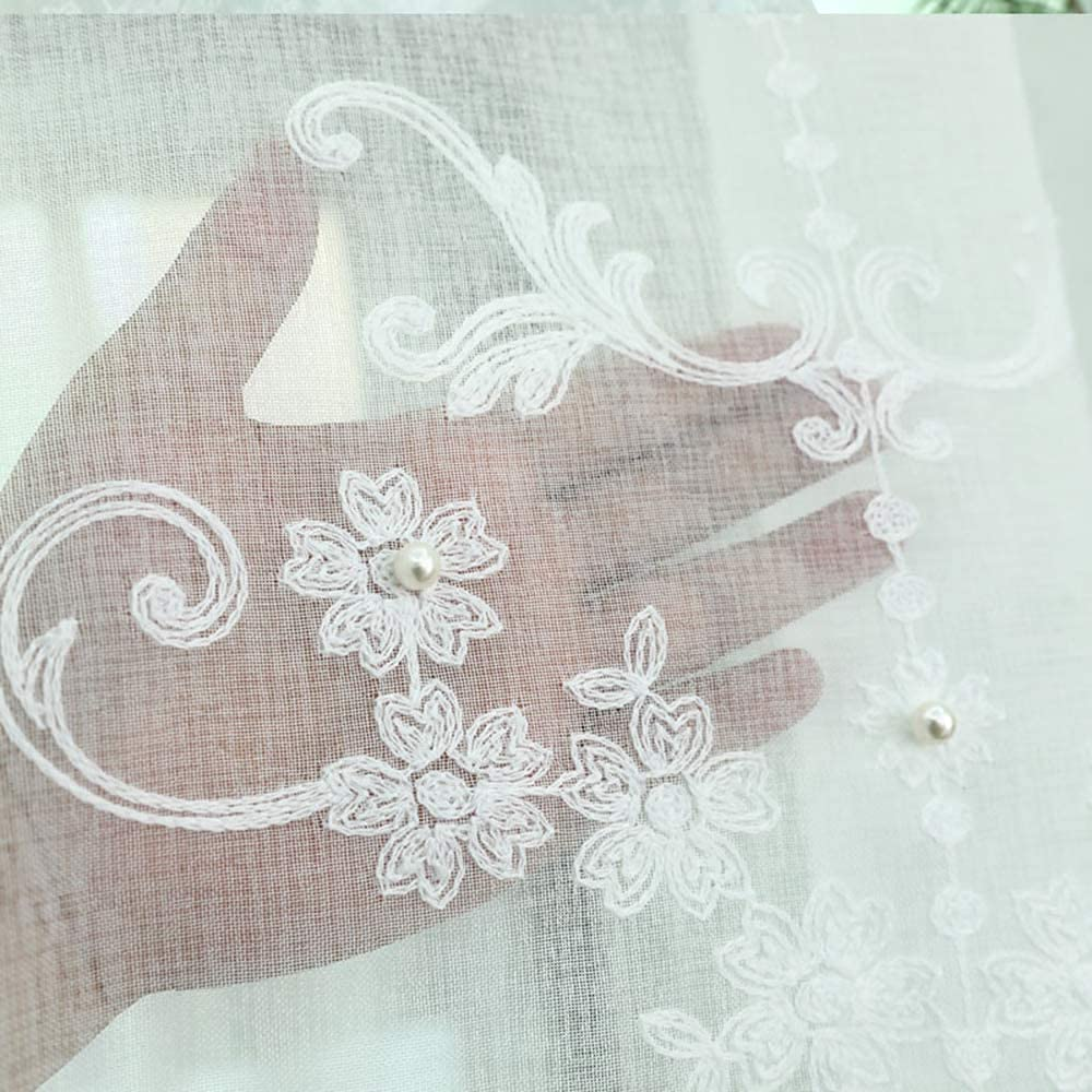 Pureaqu Cheap sale Luxury Embroidery Floral Beaded Livin Sheer Curtains for New York Mall