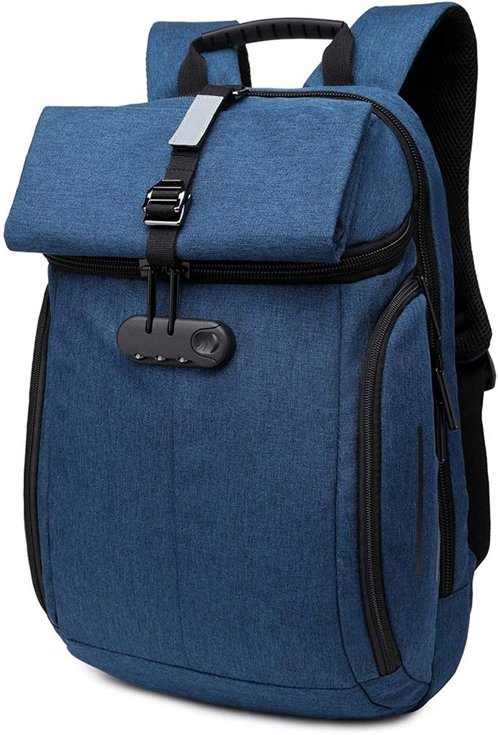 Carriemeow Men's Travel Backpack AntiTheft Lock Student Bag Casual Waterproof Oxford Cloth Laptop Daypack Commerce Business Trip Men Backpack (color   blueee)