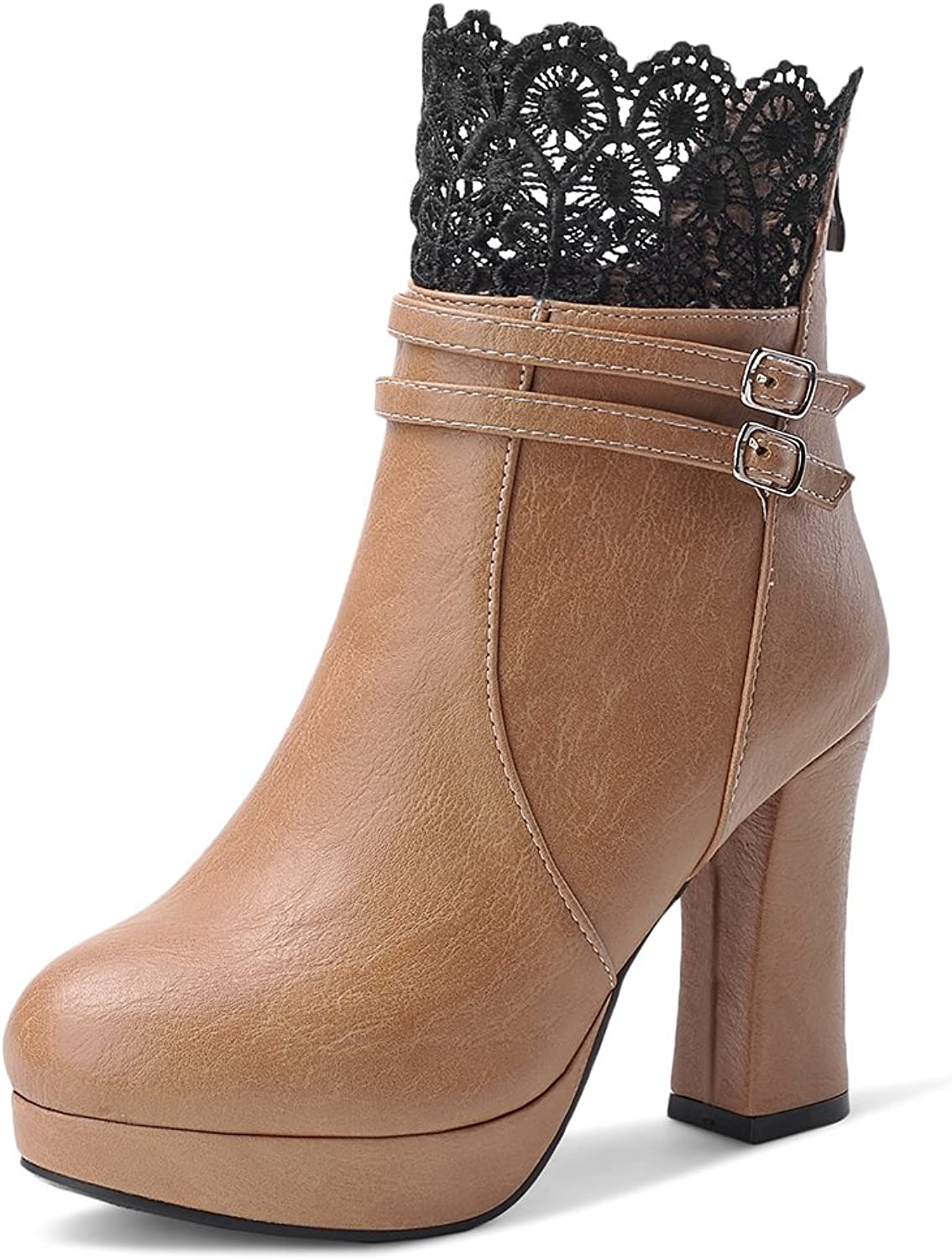 DecoStain Women's Lace Ornamented Solid Zipper High Heel Boots