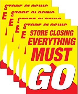 Store Closing Everything Must Go Retail Display Sign, 18