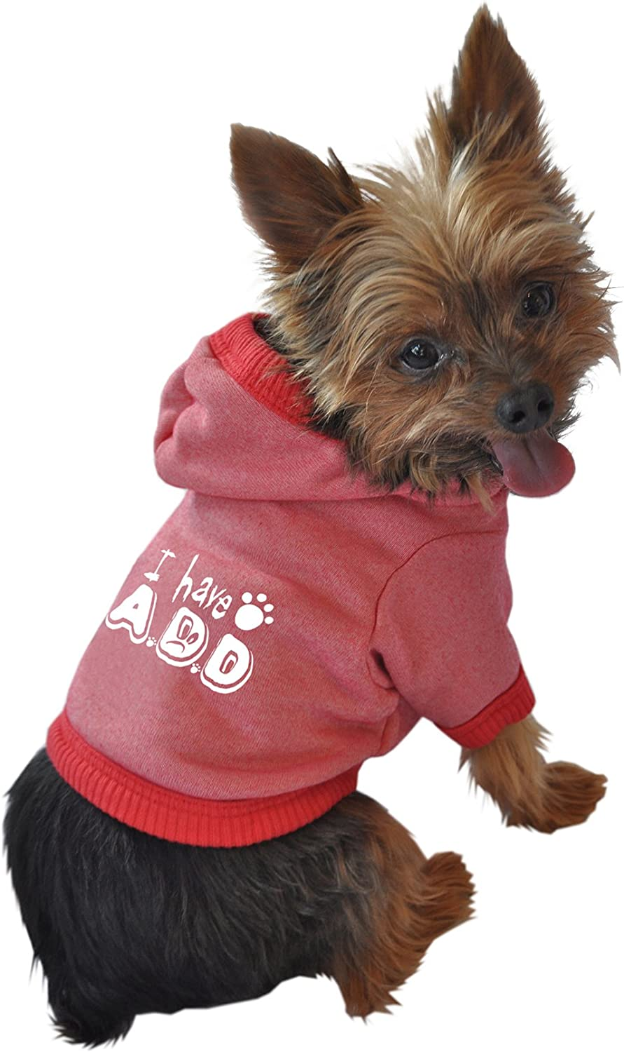 Ruff Ruff and Meow Medium Dog Hoodie, I Have A.D.D, Red