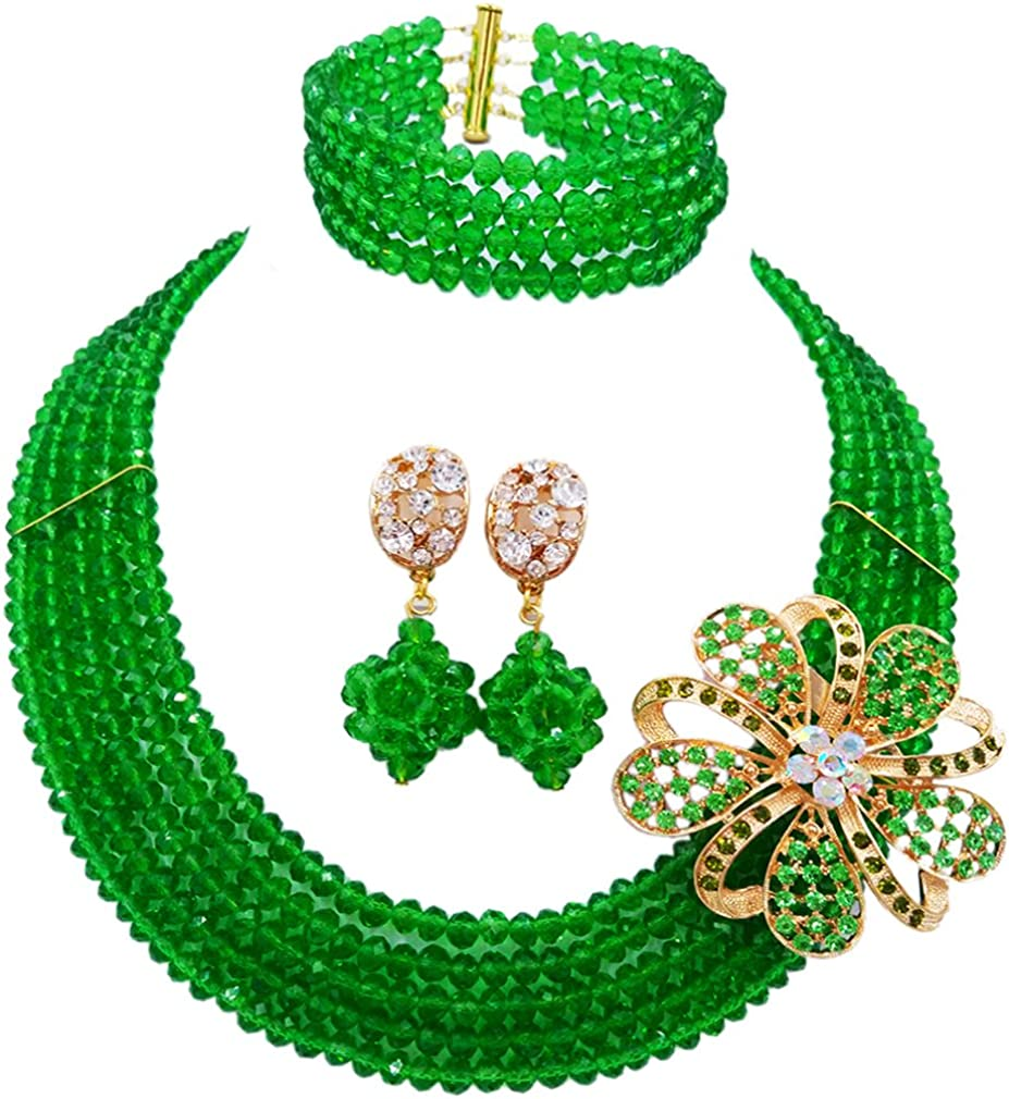 laanc 5 Rows Fashion Necklace Green Crystal African Jewelry Sets Earrings Bracelet Custom