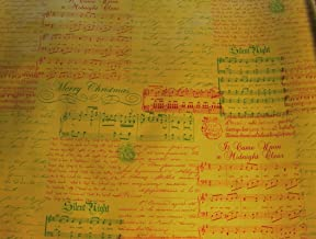 Christmas Carols Musical Script on Gold Foil Embossed Gift Wrapping Paper -24