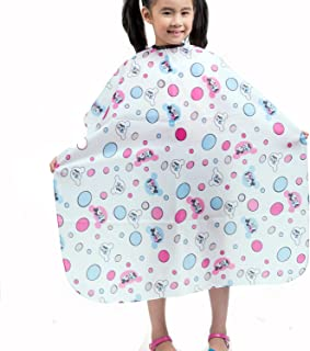 Colorfulife Child Hair Cutting Waterproof Cape Wai Cloth Barber Kids Hair Styling Cape Professional Home Salon Camps & Hairdressing Wrap Children Cartoon Bubble Mouse Pattern Capes White