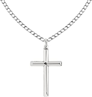 Ritastephens Sterling Silver Shiny Italian Cross Pendant Necklace (35mm, 43mm)