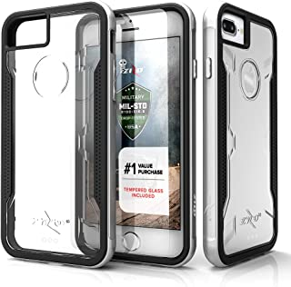 Zizo Shock Series Compatible with iPhone 8 Plus case Military Grade Drop Tested with Tempered Glass Screen Protector iPhone 7 Plus case Silver