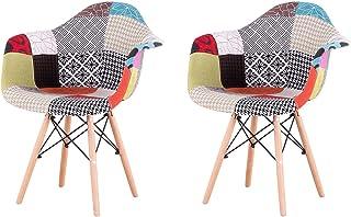 EGOONM Pack 2 sillas de Comedor Patchwork Tela de Lino Butaca, sillas de recepción, Silla de Cocina de Madera (Rojo)