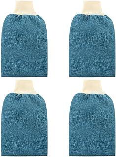 TOPBATHY 4Pcs Exfoliating Gloves Body Scrub Exfoliator Mitt Loofah Scrubbing Remover Cleansing Gloves for Bath Shower Spa