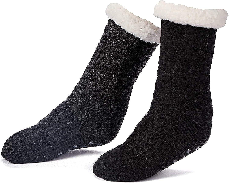 Women's Sherpa Anti-Skid Slipper Socks, Cozy Fuzzy Fleece-Lined Warm Socks with Silicone Grippers,Christmas Socks