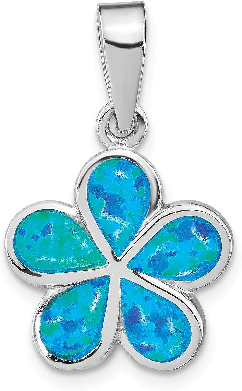 Bonyak Jewelry Sterling Silver RhodiumPlated Created bluee Inlay Opal Flower Pendant