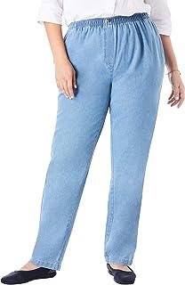 Woman Within Women`s Plus Size Elastic-Waist Cotton Straight Leg Pant