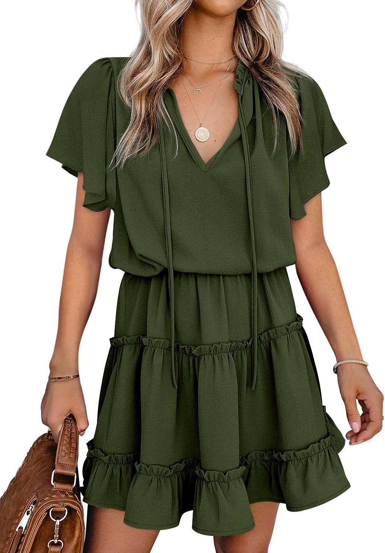 Paitluc Casual Dress Summer Midi Dress Ruffle Sleeve Dress for Women Elegant V Neck Dress S-XXL