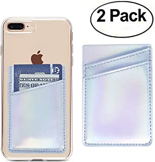 Oddss 2 Pack Cell Phone Card Holder Sticker on Back of Phone Holographic Iridescent Silver PU Leather Wallet Pocket Pouch Sleeves Cover Compatible for iPhone,Samsung Galaxy,Android Smartphones