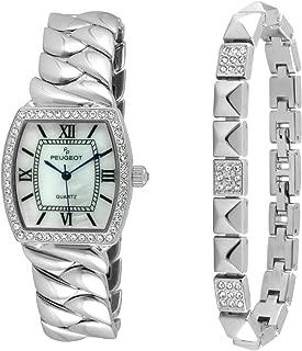 Peugeot Women Teardrop Jewelry Barrel Shape Fashion Watch with Matching Bracelet