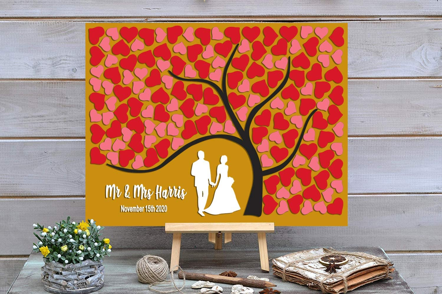 PotteLove Personalized Rustic Wooden Wedding with Max 42% OFF Red Luxury goods Guest Book