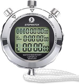 Cronómetro de Metal, Cronómetro, 1/100 Segundos Tiempos 100 Unidades Memorias Impermeable Cronómetro Electrónico para Depo...