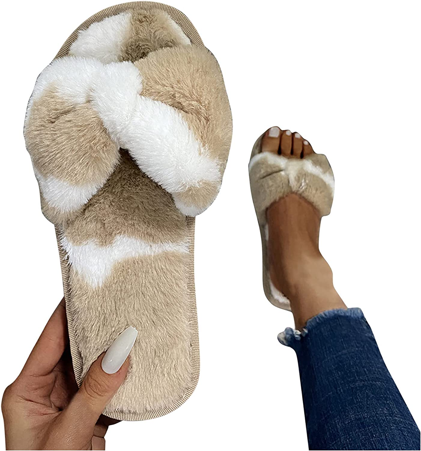 AODONG Slippers for Women,Fur Slippers Slides Open Toe Fuzzy Fur Slippers House Shoes Fluffy House Slides for Outdoor Indoor