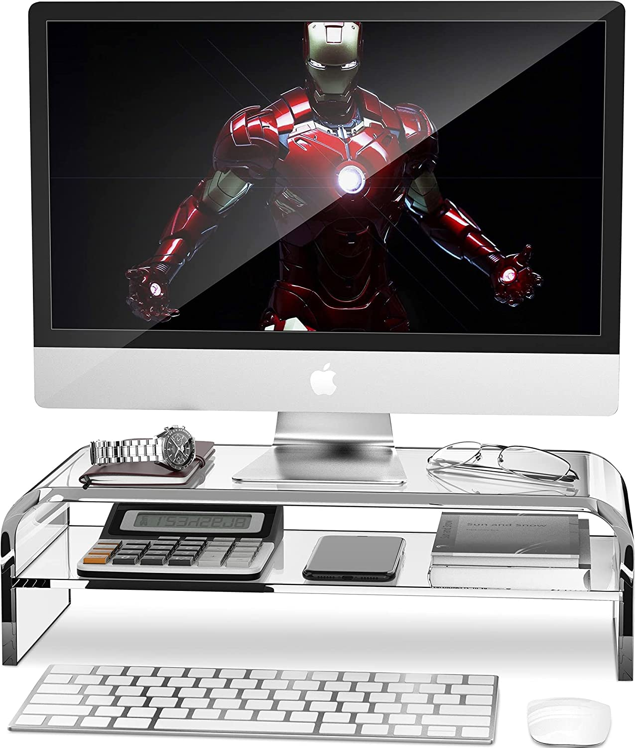 AboveTEK 2-Tier Acrylic Monitor Stand, Computer Riser for Home Office, Clear Monitor Riser for Keyboard Storage, 18.9