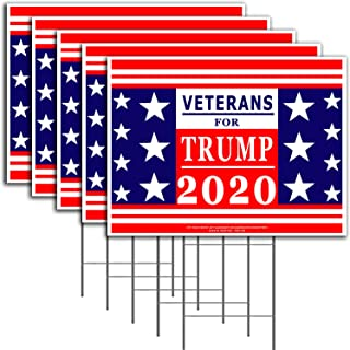 VIBE INK Veterans for President Donald Trump - Keep America Great! - 2020 Political Campaign Rally Yard Sign (24