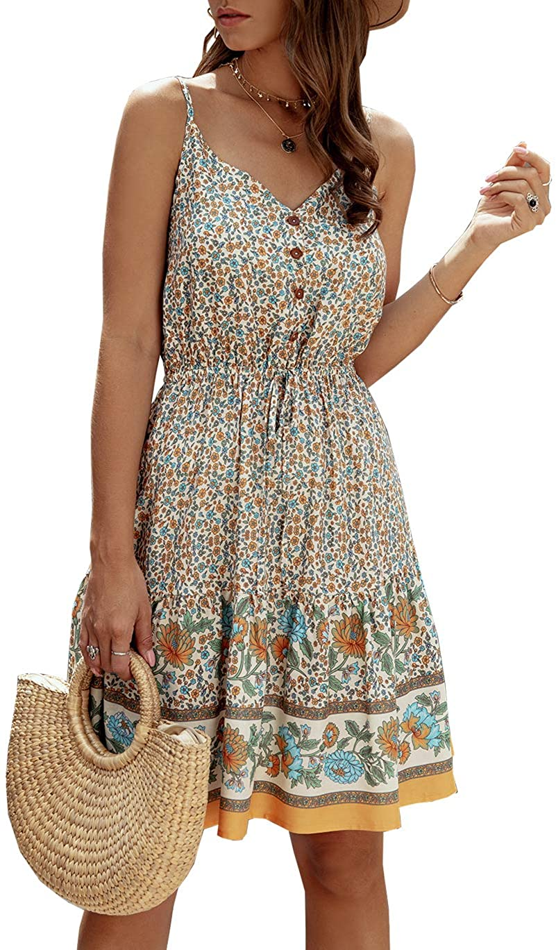 PRETTYGARDEN Women's Floral V Neck Spaghetti Strap Button Down Sundress Swing Ruffle Summer Mini Short Dress