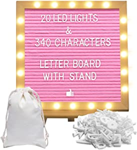 Pink Felt Letter Board with LED Lights Message Board 10X10 with Stand Letters and Numbers Emojis (Pink)