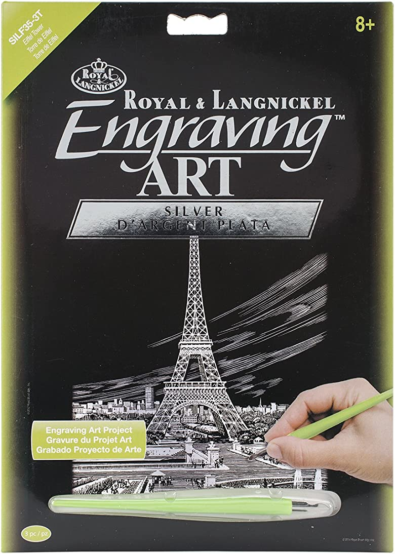 Royal Brush Silver Foil Engraving Art Kit, 8-Inch by 10-Inch, Eiffel Tower