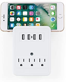 Merkury Innovations 3 AC Outlet and 4 USB 4.1 Amp Rapid Charge Wall Surge Protector and Phone Holder