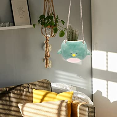 Flying Bird Hanging Planter Pot, Cute Ceramic Bluebird Planter Pot for Succulent, Cactus, Air Plants, Herbs & Other Small