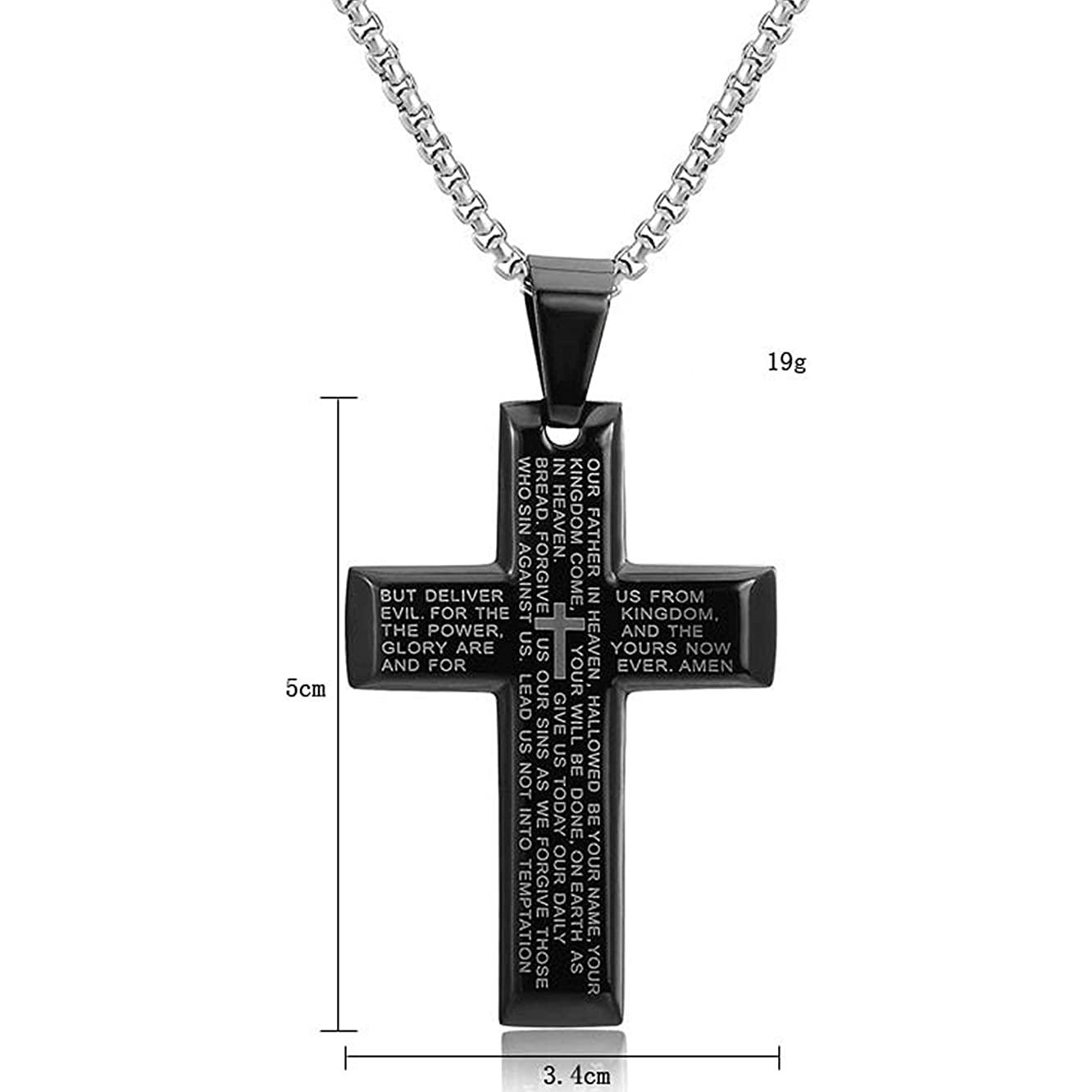 Caspper Titanium Stainless Steel Cross Bible  for Men and Women   Unisex Black Cross   Bible Cross Pendant Necklace with Chain   Christian Jewelry