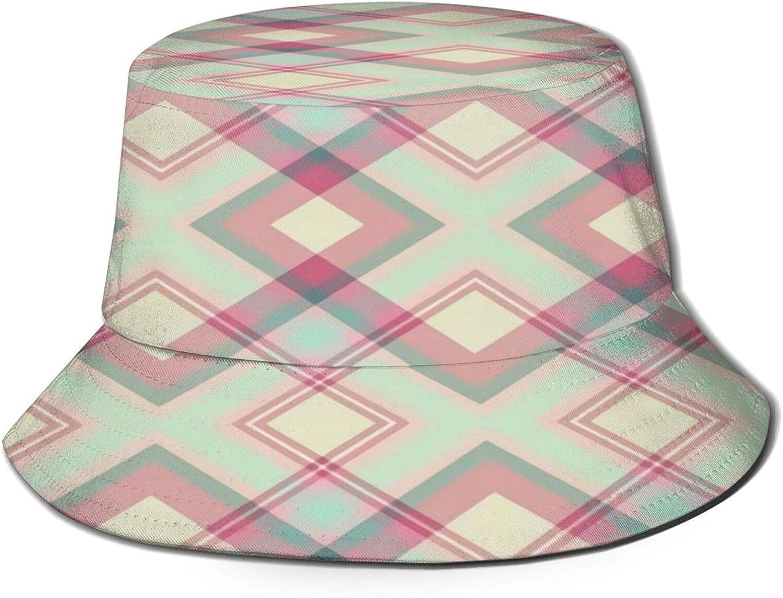 Pinkgreendiagonalplaid Bucket Hat Unisex Sun Hat Summer Packable Fisherman Hats Black