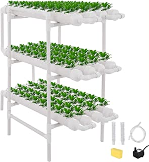 Hydroponic Grow Kit, 3 Layers 108 Plant Sites 12 PVC Pipes Hydroponics Growing System with Water Pump, Pump Timer, for Lea...