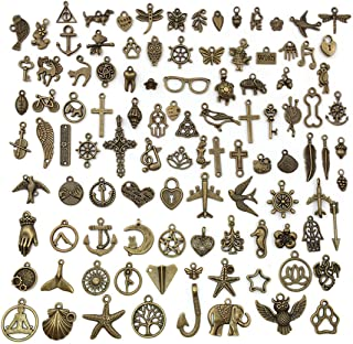JIALEEY 100 PCS Wholesale Bulk Lots Jewelry Making Charms Mixed Smooth Antique Bronze Alloy Charms Pendants DIY for Necklace Bracelet Jewelry Making and Crafting