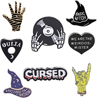 JLJ Enamel Pin Set Punk Cute Brooches for Party Vampire Skull Witch for Costume Decoration