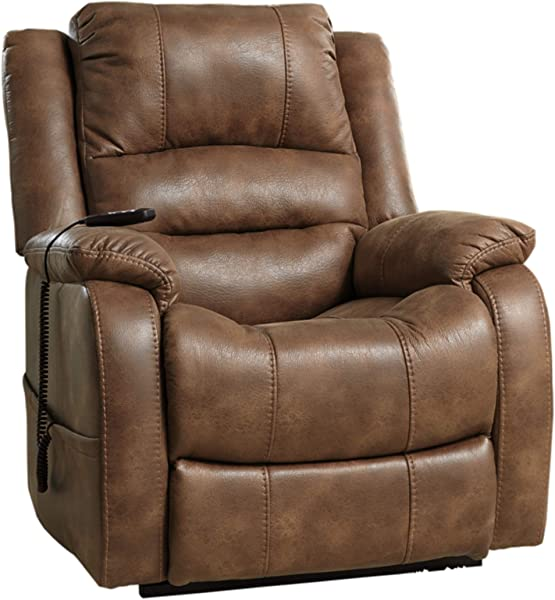 Ashley Furniture Signature Design Yandel Power Lift Recliner Contemporary Reclining Faux Leather Upholstery Saddle