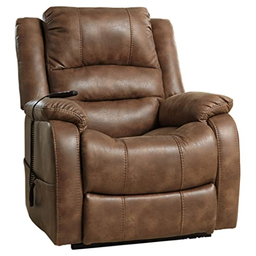 Ashley Furniture Signature Design - Yandel Power Lift Recliner - Contemporary Reclining - Faux Leather Upholstery