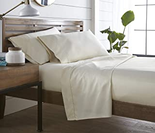 Zorificraft 1500-Thread-Count Superior4pc Sheet Set + 1pc Bedskirt Expanded Queen Ivory Solid Supreme 1500TC 100% Egyptian Cotton (26