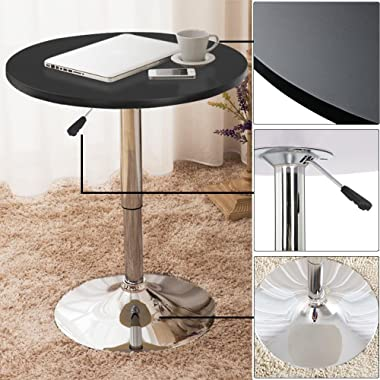 Topeakmart Adjustable Round Pub Table Counter Bar Height MDF Top Table 306° Swivel Bar Tables Tall Cocktail Tables Bistro Tab