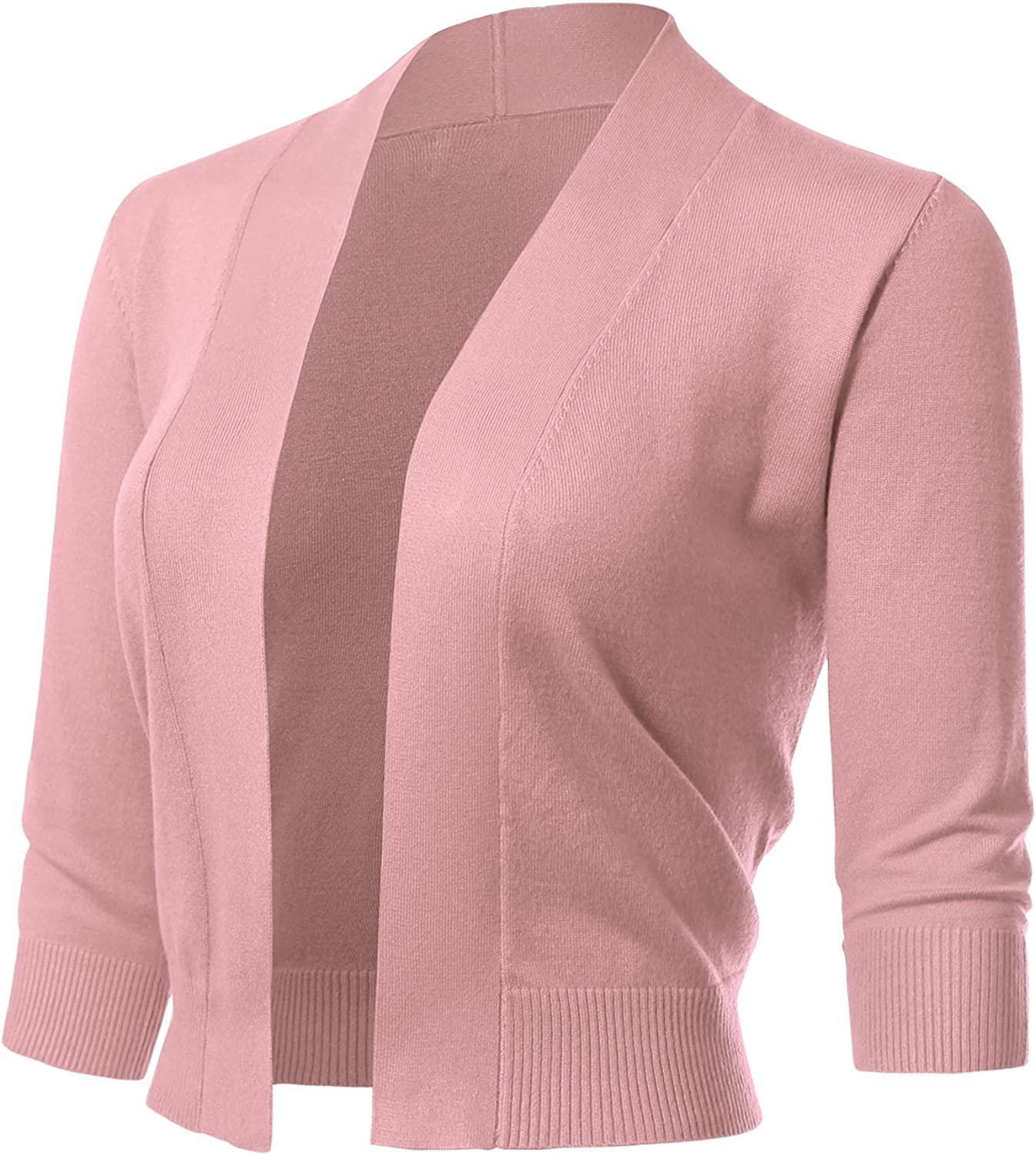 Allsense Women's Classic 3/4 Sleeve Open Front Cropped Cardigans (S-3XL)