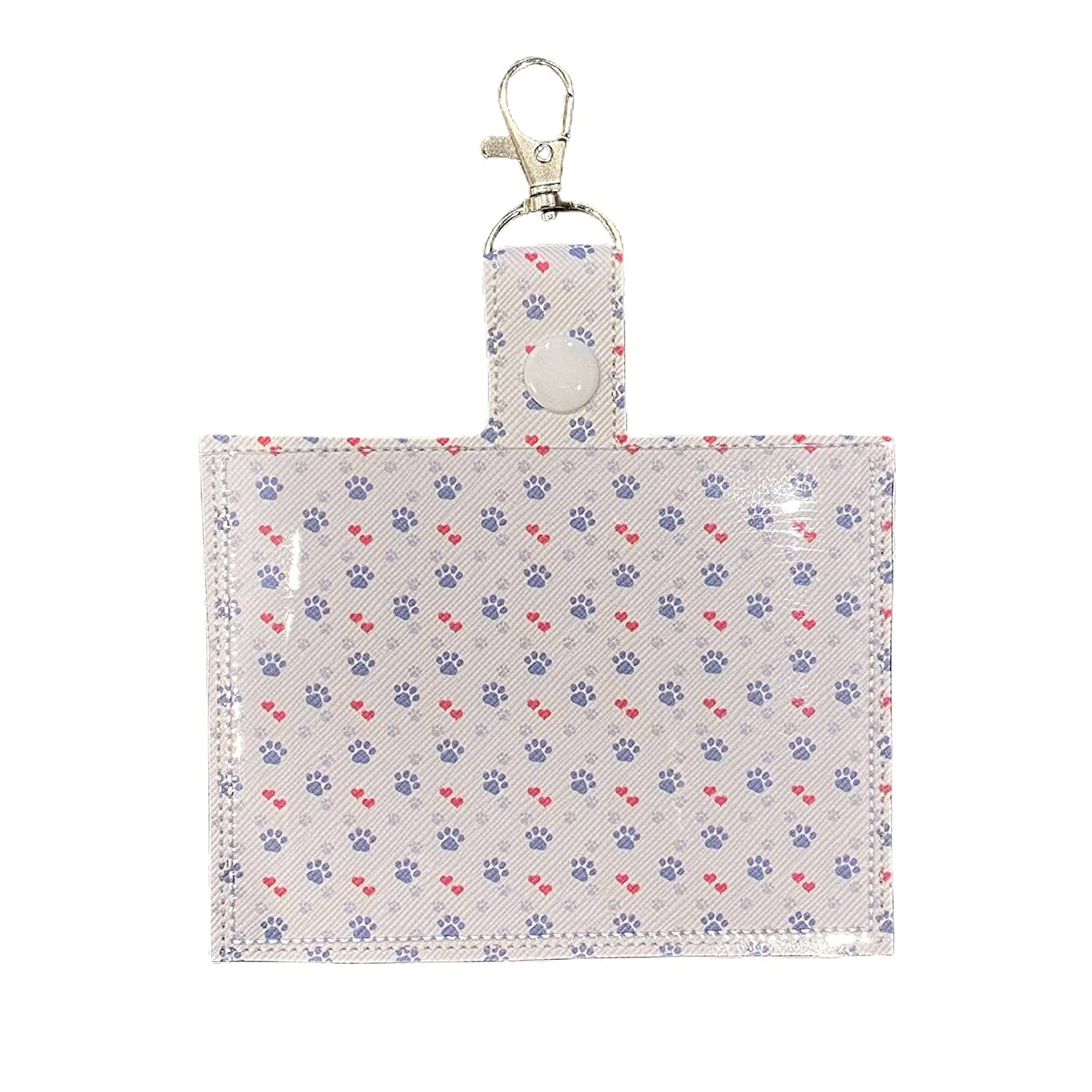 Patterned Time sale Vaccine Card Holder Super intense SALE Keychain and Clip with Paws Heart