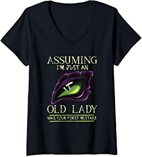 Womens Assuming I'm Just An Old Lady Was Your First Mistake Dragon V-Neck T-Shirt