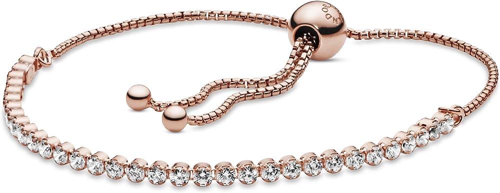 Pandora bracciale tennis scintillante in lega metallica con placcatura in oro rosa 14k. 580524CZ-2