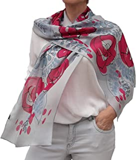 Long Silk Scarf Artistic Hand Painted and Printed Chiffon Blue Pink Floral Designer Lightweight Scarves for Women Dress Birthday Gift