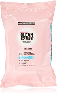 Maybelline New York Clean Express Makeup Remover Facial Towelettes, 25 Count